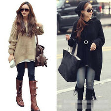 Women Long Sleeve Oversized Batwing Knit Sweater Loose Jumper Pullover Tops New