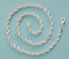 """4mm Rope Chain 16"""", 18"""", 20"""", 22"""", 24"""", 26"""", 28"""", or 30"""" 925 Sterling Silver"""