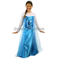 GIRLS ICE QUEEN COSTUME FILM MOVIE SNOW PRINCESS CHARACTER CHILDS FANCY DRESS