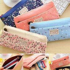 Floral Canvas Cosmetic Makeup Bag Double Zipper Pencil Case Coin Pouch Purse