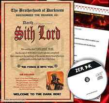 SITH LORD CERTIFICATE STAR WARS PERSONALISED CHRISTMAS GIFT FOR HIM OR HER