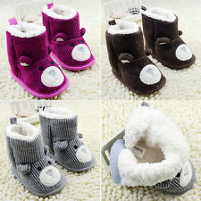 Infant Toddler Baby Unisex Knit Boots Bear Booties Soft Fleece Bootee Crib Shoes