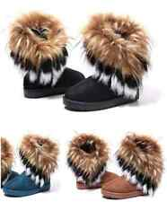 Womens Ladies Girls Ankle Flat Faux Fur Lined Boots Warm Winter Shoes 2-7 Sizes