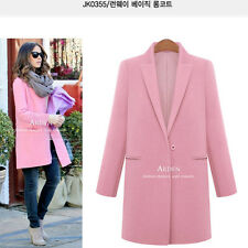 Ladies Women's Lapel Wool Cashmere Long Winter Parka Coat Trench Outwear Jacket