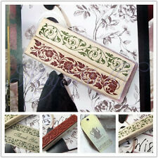 Vintage  Wooden Rubber Stamp Flower Lace Handwriting Floral Scrapbooking Craft O