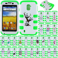 For ZTE Majesty Z796C Source N9511 Case HYBRID TUFF Cover White/Neon Green Music