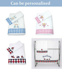 Personalised Hand & Bath Baby Towel Set Showering Gift Boy Girl Embroidered