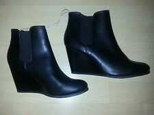 Black Ankle Boots, Wedge, Heel, Slip On, NEW sz 9.5, 10, 11, Merona Boot