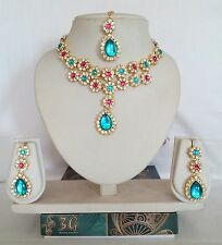 Indian Bollywood Style Fashion Jewelry Swarovsk Diamante Necklace Earring Set