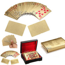 24K Gold Foil Plated Poker playing cards Deck Collection w / Box EURO US Dollar
