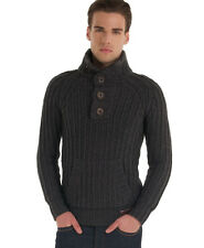New Mens Superdry Trident Henley Dark Grey