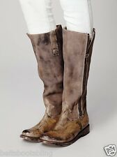 Free People Freebird By Steven Bowman Tall Zip Grey Leather Distressed Boots Sz7