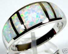 White Fire Opal Inlay Solid 925 Sterling Silver Men's, Woman Band Ring Sz 6 - 11