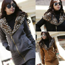 Women Leopard Hoodie Fleece Coat Jacket Tops Sweatshirt Zip Outwear