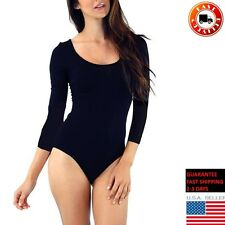 Basic Solid Cotton 3/4 Sleeve Round Neck Bodysuit Snap Button Top Black Medium