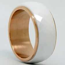 8mm White Ceramic Rose Titanium Mens High Tech Wedding Band Ring Rotate FREE S&H