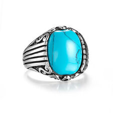 Silver Ring Solitaire Oval Turquoise Gem Stainless Retro Class Ring For Men