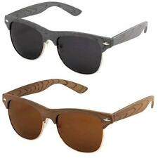 VTG Style Wood Grain Clubmaster Sunglasses Retro Wooden Style Brown/Black/Grey