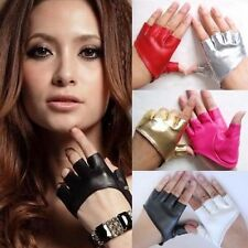 Women's Sexy Punk Rock Faux Leather Half Finger Fingerles Dance Show Club Gloves