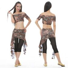 Blouse + Hip Scarf 2pcs set The Peacock Pattern Belly Dance Costumes 6 colors