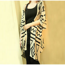 Womens Boho Casual Loose Sweater Ethnic Cardigan Outwear Tops Knit Coat Oversize