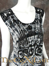 Womens VOCAL Shirt Sleeveless See Through Back Motorcycle & Wings