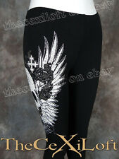 NWT VOCAL Yoga / Sweat Pants with Cute Winged Skull in Black