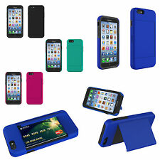 "For APPLE IPHONE 6 4.7"" HYBRID DUAL LAYER CREDIT ID HOLDER CARD CASE CELL"