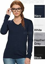 Basic V NECK Long Sleeve  Cotton Tee Shirt Top Solid Plain Junior Women XS-4XL