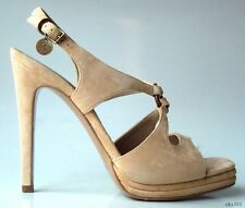 new $885 YSL Yves Saint Laurent beige suede open-toe LOGO platforms shoes - SEXY