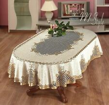 Oval Tablecloth Heavy Lace Cream / Golden Beige Floral Premium Quality