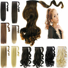 UK NEW wrap around ponytail clip in hair Extensions hair piece synthetic natural