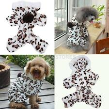 New Pet Dog Cat Clothes Apparel Brown Leopard Grain Coat Hoodie Jumpsuit  hv2n