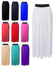 WOMENS LADIES SHEER CHIFFON GIRLS MAXI SKIRT GYPSY PLAIN LONG MAXI DRESS SKIRT