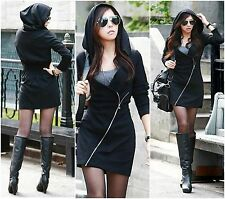Casual Slim Zipper Sexy Top Mini Dress Women Black Hooded Long Sleeve Sweatshirt