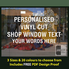 PERSONALISED SHOP WINDOW STICKER DECAL - Vinyl Cut Text Words business custom