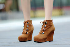 Women's feminin suede faux short velvet lace-up platform super heel wedge boots