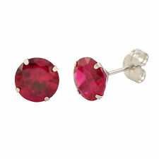 14k White Gold Ruby Red Cubic Zirconia Stud Earrings Round Birthstone CZ