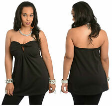 Sexy Black Strapless BabyDoll Knit Top with Tied Keyhole Front Accent 14-20 BNWT