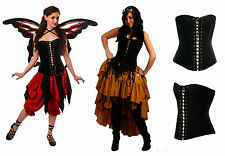 RENAISSANCE FAIRE COSTUME MEDIEVAL DRESS-UP PIRATE WENCH STEAMPUNK BLACK CORSET