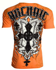 Archaic AFFLICTION Men T-Shirt HELIX Cross Shield Tattoo Biker MMA UFC M-4XL $40
