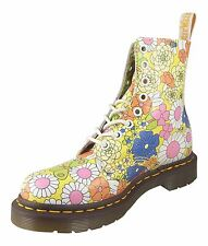 Dr Martens Womens Pascal 1460 Yellow Vintage Daisy Floral Leather Ankle Boots