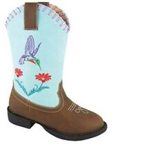 Girl's Brown and Turquoise Faux Leather Hummingbird Cowgirl Boots **Last Pair**