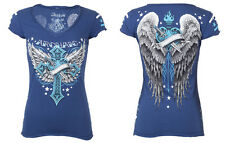 Archaic AFFLICTION Womens T-Shirt SHADOW LOVE Tattoo Biker UFC Sinful S-XL $40 b