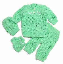Crochet Baby 4 Piece Outfits Set Sweater,Hat,Booties,Pants Girls New Born Pink