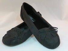 WOMEN SUEDE BLACK MOCCASIN SLIP ON SOFT FUR LINED FLATS MAX,FREE SHIPPING