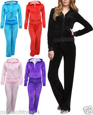 Womens Plain Velour Hooded Tracksuit Ladies Gym Yoga Casual Jogging Top Bottom