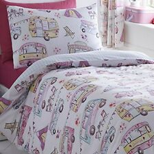 CARAVAN CAMPER VAN RETRO VW TENTS PINK WHITE CHECK VINTAGE BEDDING OR CURTAINS
