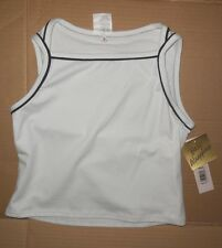 NWT Body Wrappers Sports Tank cotton spandex frontlined white black preteen14/16