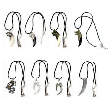 Mens Wolf Tooth Pendant Necklace Titanium Steel & Adjustable Leather Necklace.